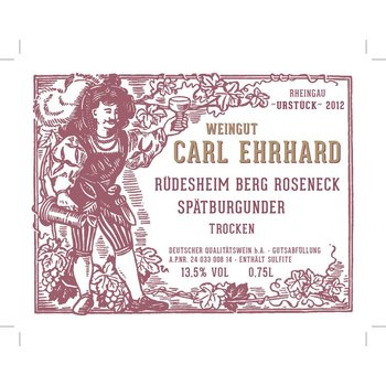Carl Ehrhard Rudesheim Berg Roseneck Spatburgunder Trocken Pinot Noir 2017<br /> Rheingau, Germany<br /> 90pts-WE