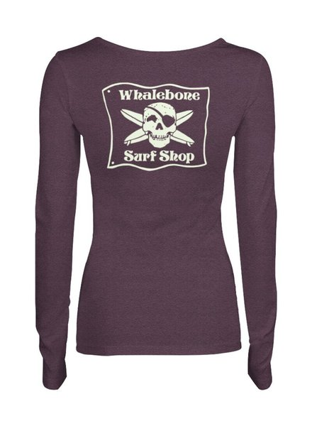 Whalebone Logo WOMENS WHALEBONE SURF SHOP GLOW LOGO TRI-BLEND SCOOP NECK LONG SLEEVE TEE