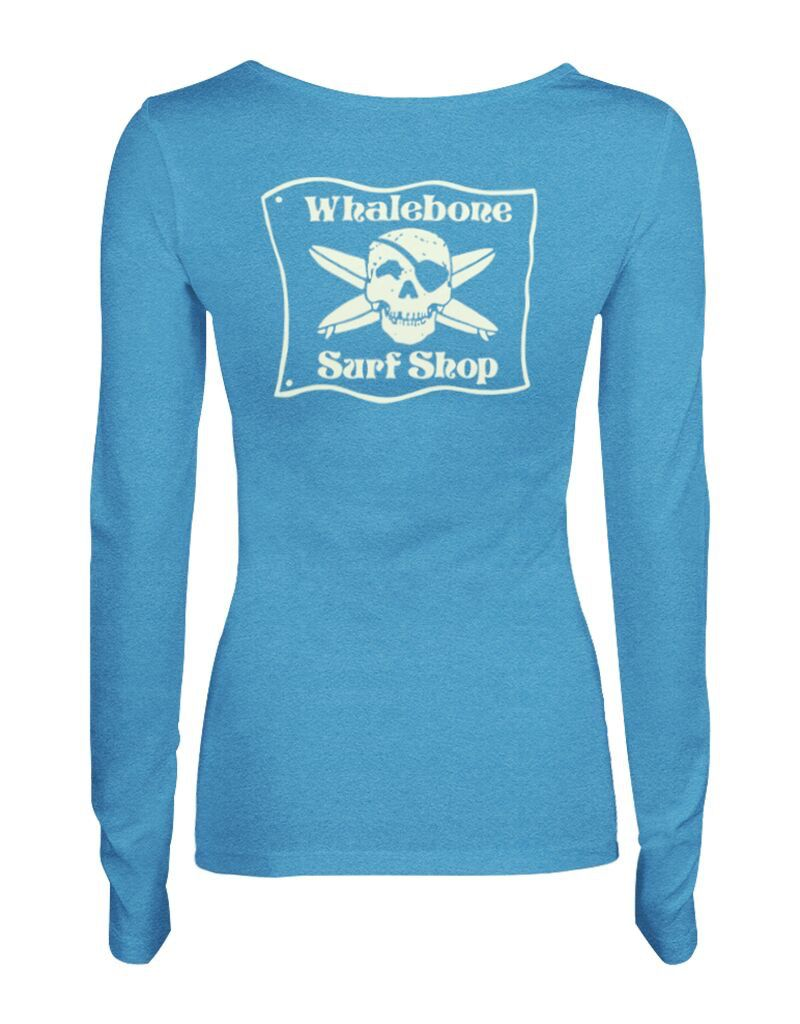 Whalebone Logo WOMENS WHALEBONE SURF SHOP GLOW LOGO TRI-BLEND SCOOP NECK LONG SLEEVE TEE