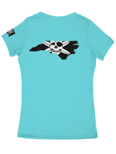Whalebone Logo WOMENS STATE OF NC OUTLINE LOGO TRI-BLEND DEEP V TEE