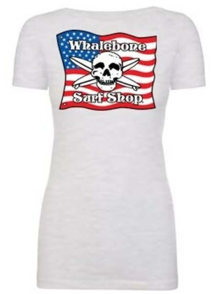 Whalebone Logo WOMENS AMERICAN FLAG SCOOP NECK SHORT SLEEVE TEE