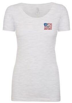 Whalebone Logo WOMENS AMERICAN FLAG SCOOP NECK SHORT SLEEVE TEE