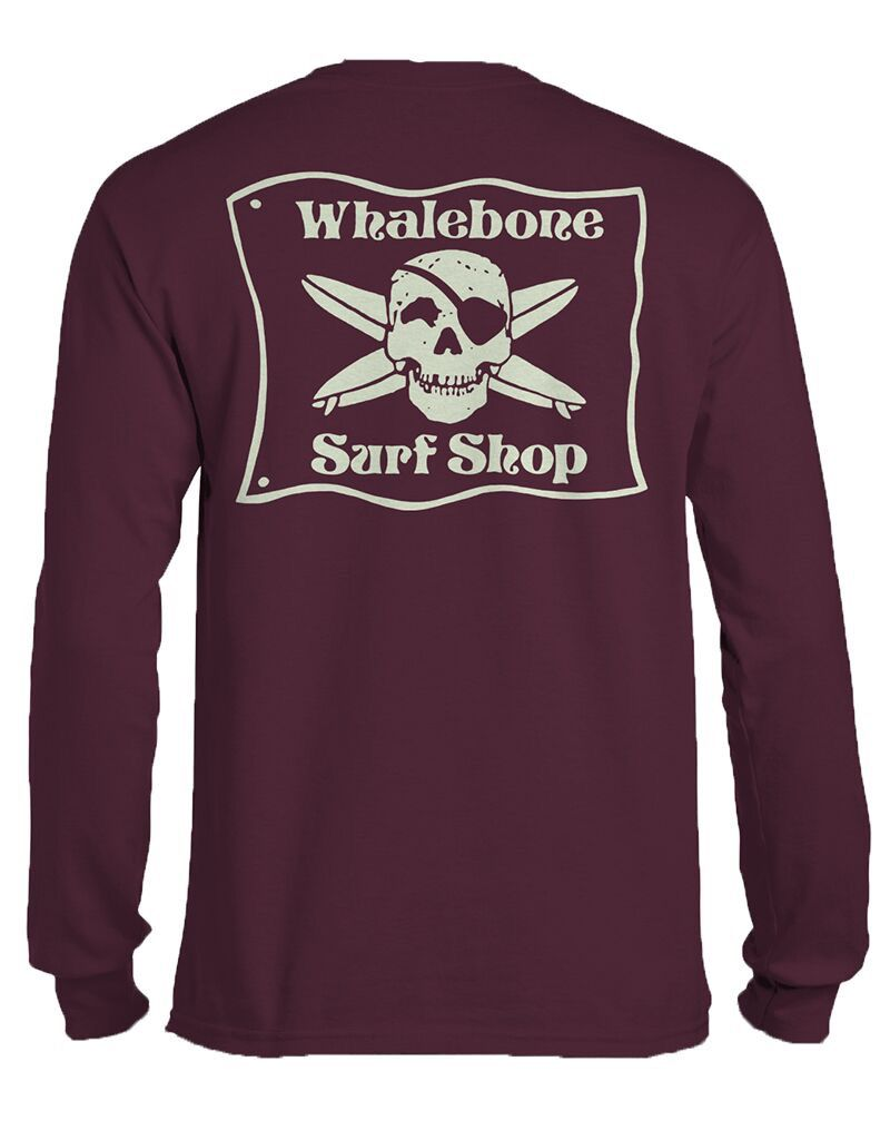 Whalebone Logo WHALEBONE SURF SHOP GLOW LOGO LONG SLEEVE TEE WITH SOUTH 12 ON CUFF