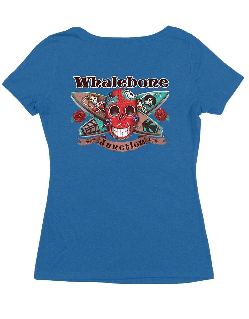 Whalebone Logo WOMENS DAY OF THE DEAD TRI-BLEND SCOOP NECK SHORT SLEEVE TEE