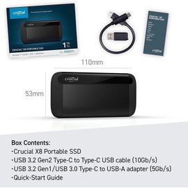 CRUCIAL Crucial X8 2TB External Portable SSD ~1050MB/s USB