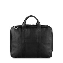 "TOFFEE Lincoln Briefcase 15"" Black, The lincoln briefcase is a slimline and deceivingly spacious bag, superbly crafted from naturally milled leather with a subtle pebble grain. Features a padded quilted laptop compartment, separate iPad/tablet pocket, with an ex"