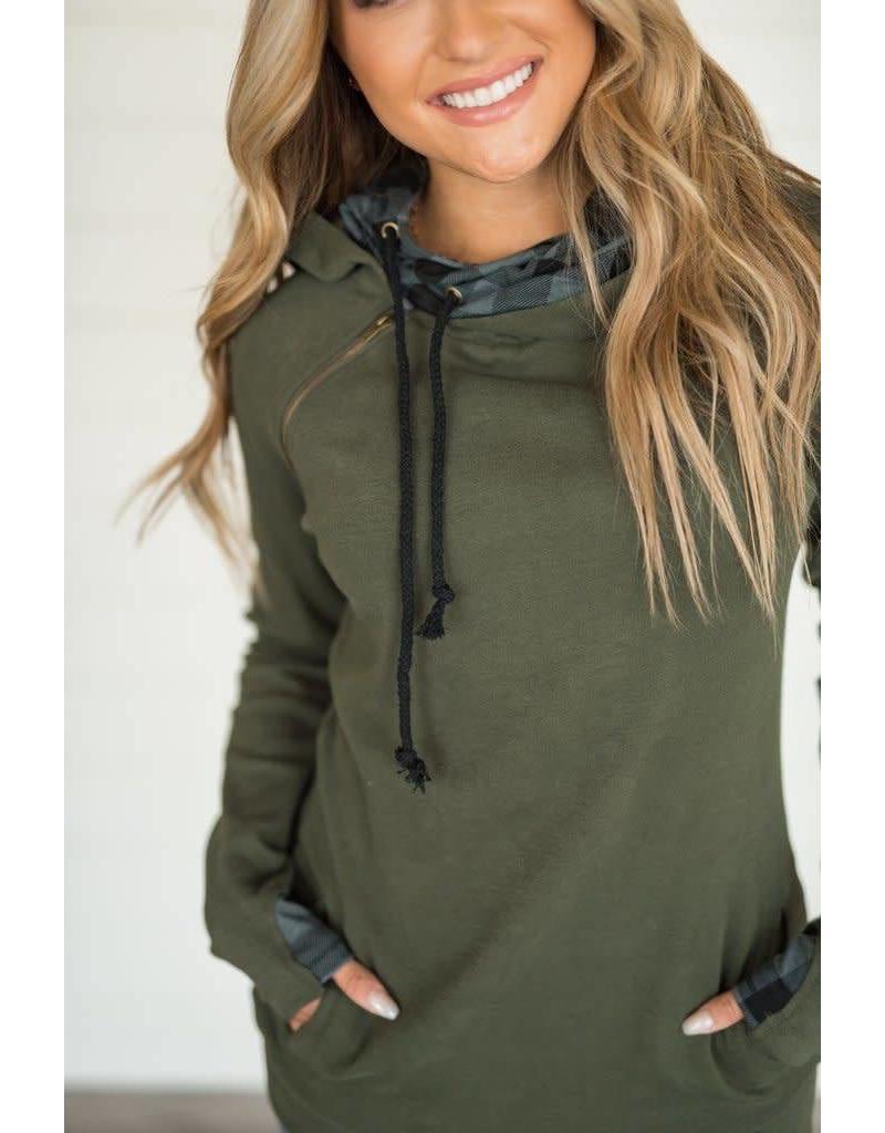 AmpersandAve DoubleHood™ Sweatshirt - EverGreen Plaid