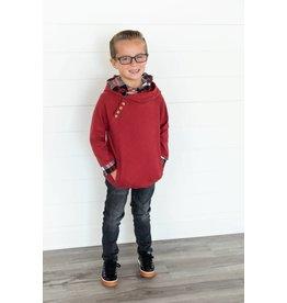 AmpersandAve Kids DoubleHood™ Sweatshirt - Cranberry Plaid