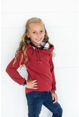 AmpersandAve Youth DoubleHood™ Sweatshirt - Cranberry Plaid