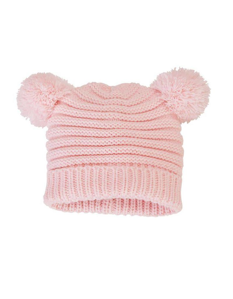 Pink pom pom hat