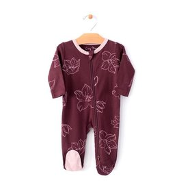 City Mouse Hellebore Footed Romper w/zip