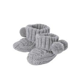 Mud Pie Gray Pom-Pom Knit Booties