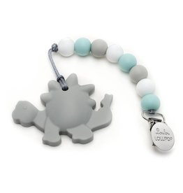 Loulou Lollipop Dinosaur Silicone teether with holder - Gray