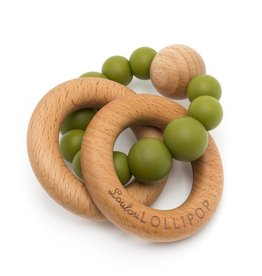 Loulou Lollipop Bubble Silicone and Wood Rattle - Olive Green