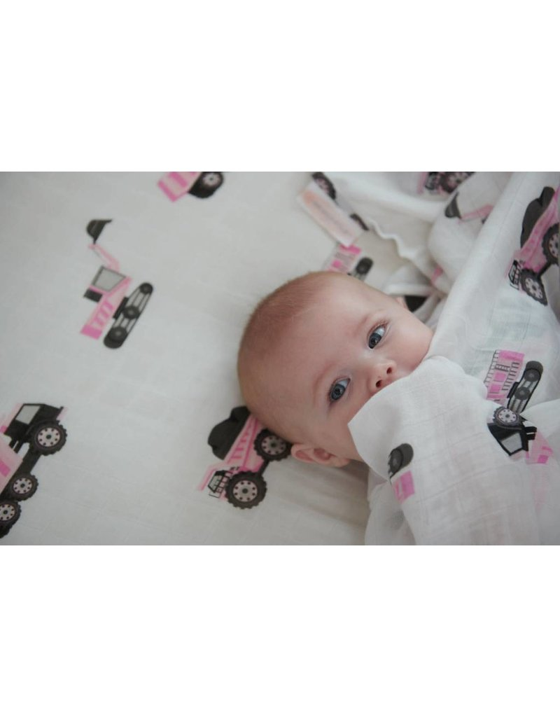 Newcastle Pink Digger Bamboo Swaddle