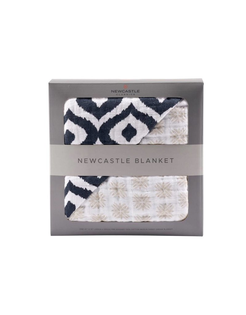 Newcastle Morrocan Blue And Traveler Dot Newcastle Blanket