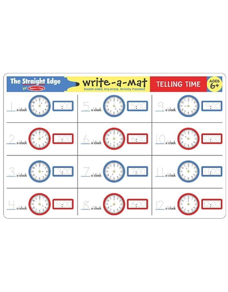 Melissa & Doug Write-A-Mat Telling Time