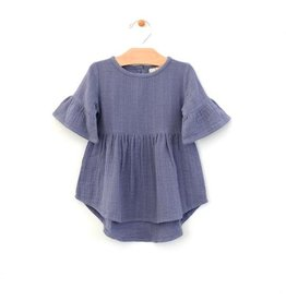 City Mouse Muslin Bell Sleeve Dress - Periwinkle