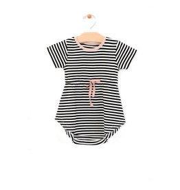 City Mouse Striped Twirl Dress Black/White Stripe