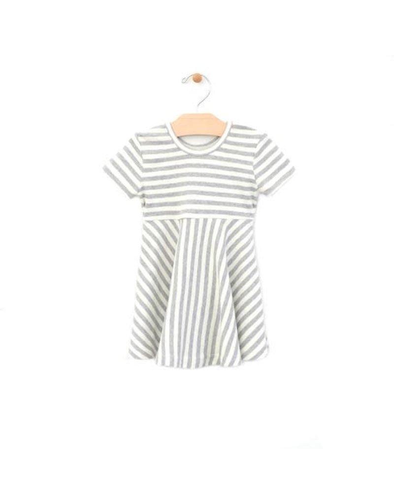 City Mouse Striped Twirl Dress Melange / off white Stripe