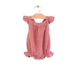 City Mouse Muslin Bubble Romper- Sunset Rose