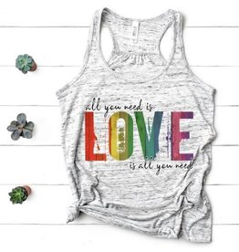 MidWest Tees All you need is love  Tank - Gray