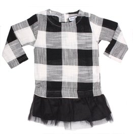 Young & Free Tunic Dress-  Black Plaid