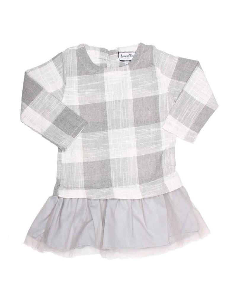 Young & Free Tunic Dress Grey Plaid