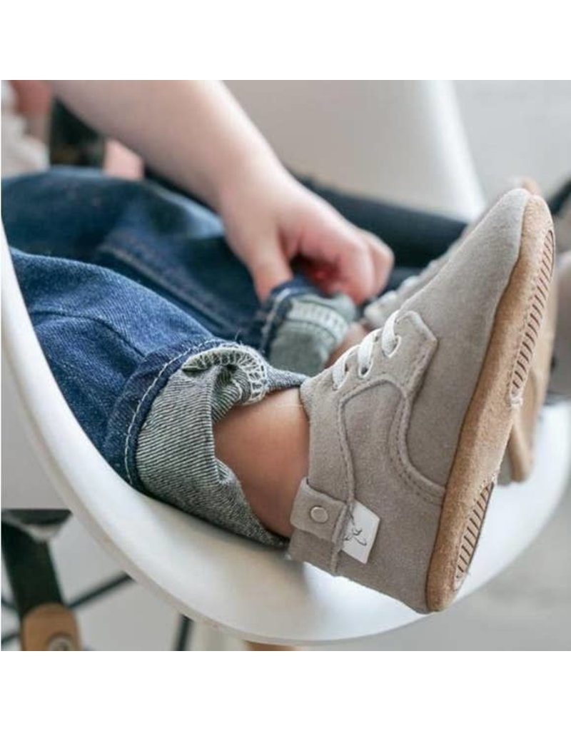 Little Love Bug Gray Elastic Laced Oxford Moccasin