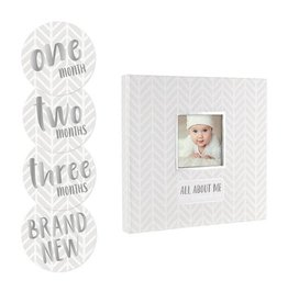 Pearhead Baby's Memory Book & sticker Set: Grey Herringbone