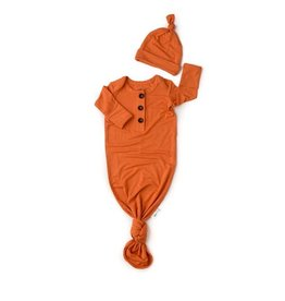 Gigi & Max Gigi & Max Orange button newborn gown & hat