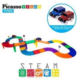 PicassoTiles 30 Pc Magnetic Race Track Building Blocks Set
