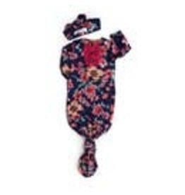Gigi & Max Gigi & Max Cora Pink Navy Ruffle Floal Gown with headband