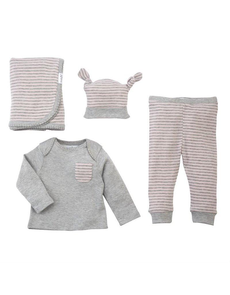 Mud Pie Grey Pink 4pc Gift Set