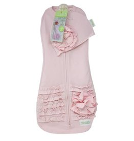 Woombie Woombie Deluxe Swaddle set with ruffles-Pink