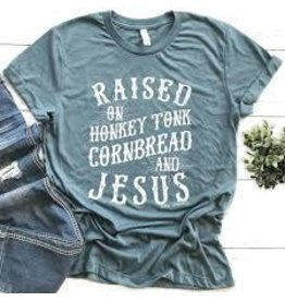 MidWest Tees Raised on Honkey Tonk & Cornbread shirt 2XL