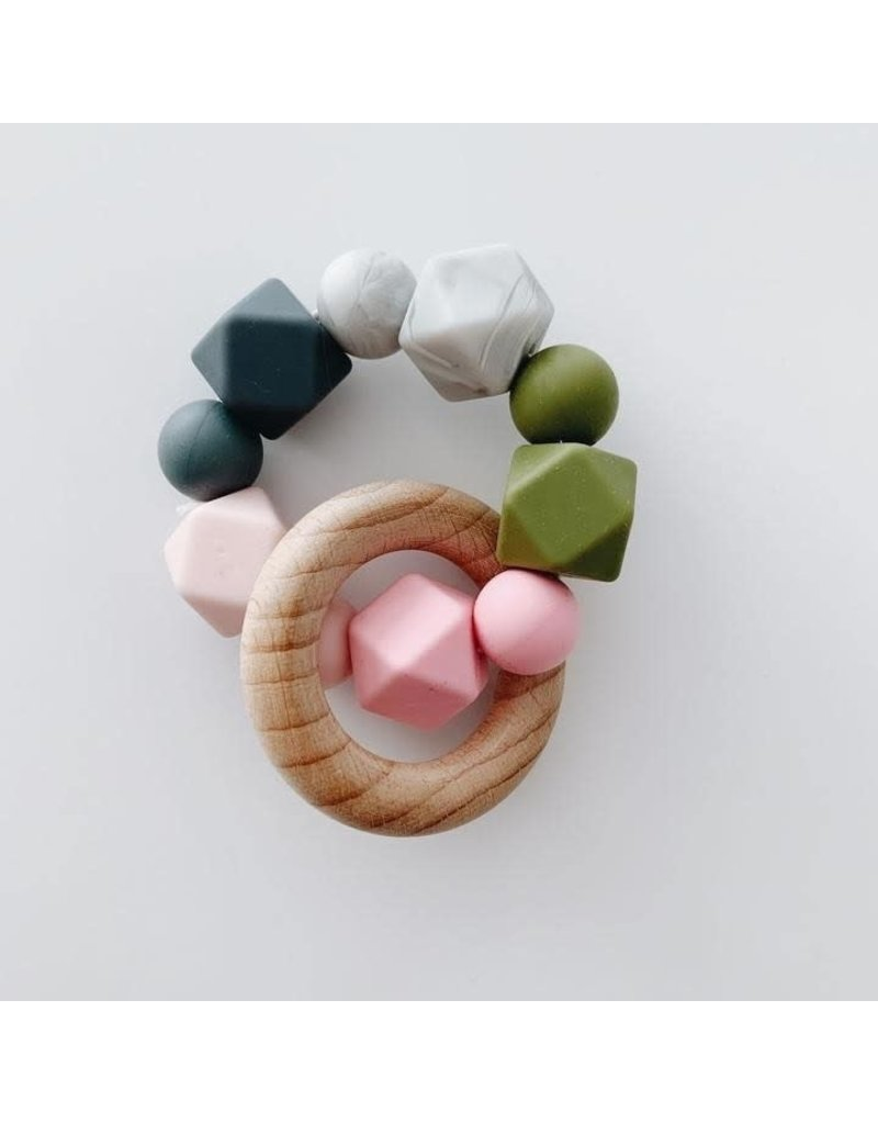 The Sugar House Sugar + Maple Silicone + Beechwood Teether- Multi - Pink