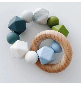 The Sugar House Sugar + Maple Silicone + Beechwood Teether- Multi - Blue