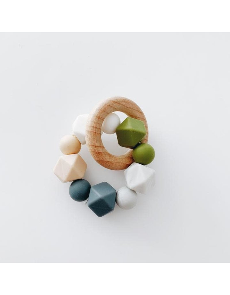 The Sugar House Sugar + Maple Silicone + Beechwood Teether- Multi - Grey