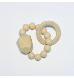 The Sugar House Sugar + Maple Silicone + Beechwood Teether- Gem - Natural