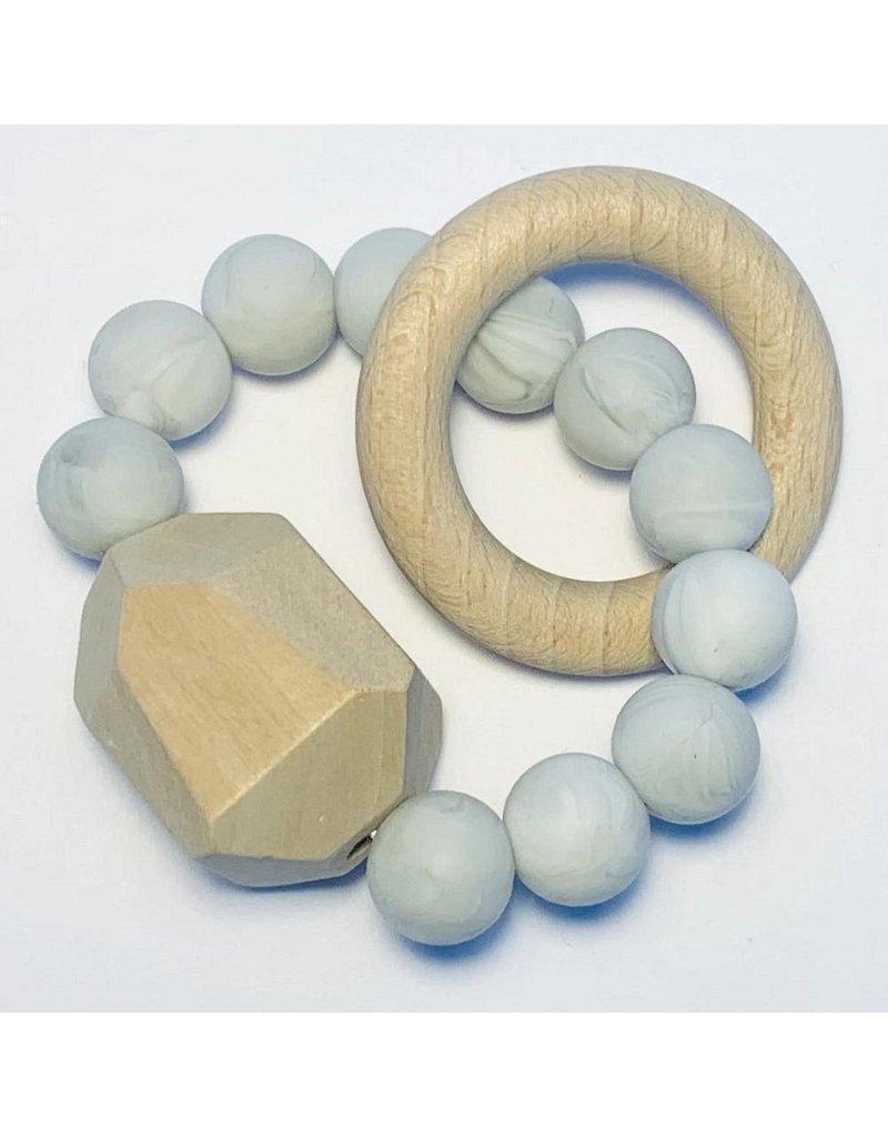 The Sugar House Sugar + Maple Silicone + Beechwood Teether- Gem - Marble