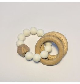 The Sugar House Sugar + Maple Silicone + Beechwood Teether- 2 Ring - White