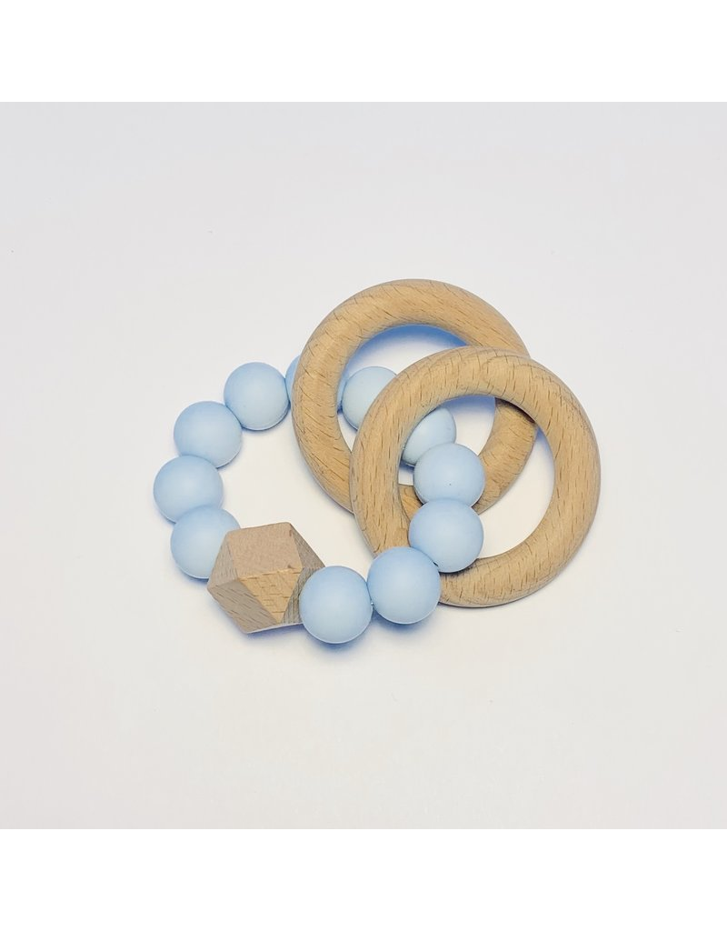 The Sugar House Sugar + Maple Silicone + Beechwood Teether- 2 Ring - Blue