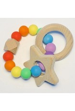 The Sugar House Sugar + Maple Silicone + Beechwood Teether - Rainbow Baby