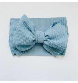 The Sugar House Sugar + Maple headwrap bow- Light Blue