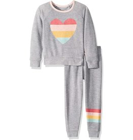 P.J. Salvage Gray with heart top and pant 3T