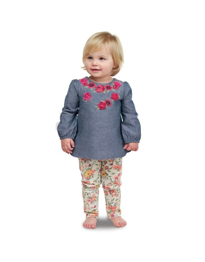 Mud Pie FLORAL CHAMBRAY TUNIC AND LEGG