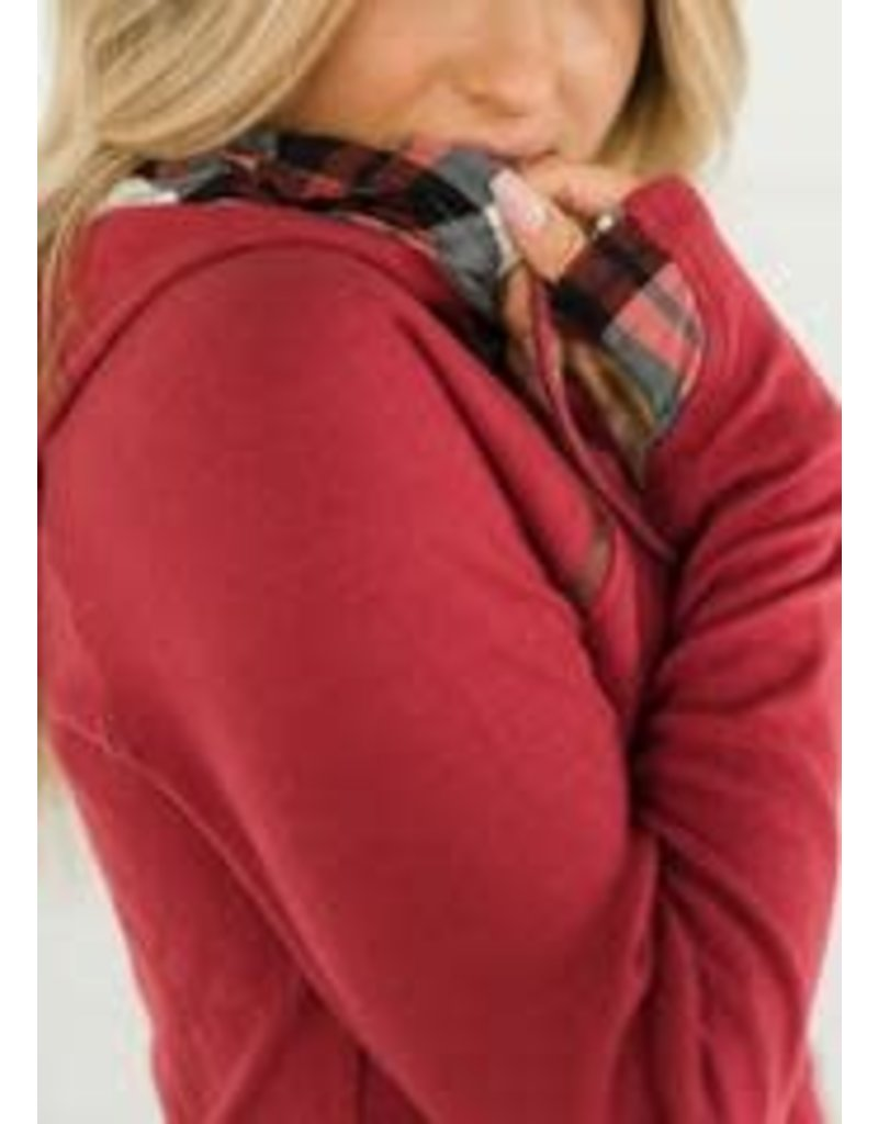 AmpersandAve DoubleHood™ Sweatshirt - Cranberry Plaid