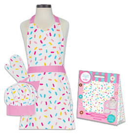 Handstand Kitchen Sprinkles Deluxe Child Boxed Apron Set Includes: Apron, Oven Mitt, & Chef's hat