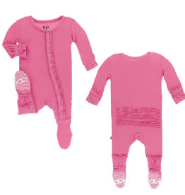 Kickee Pants Solid Muffin Ruffle Footie With Zipper Flamingo